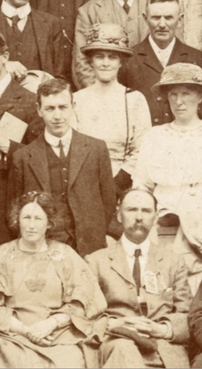 Eibhlín Bean Mhic Choisdealbha (centre, standing) among fellow delegates at Oireachtas na Gaeilge 1913, courtesy of the Town Hall Theatre, Galway, and the Curran Family  / [unidentified photographer]